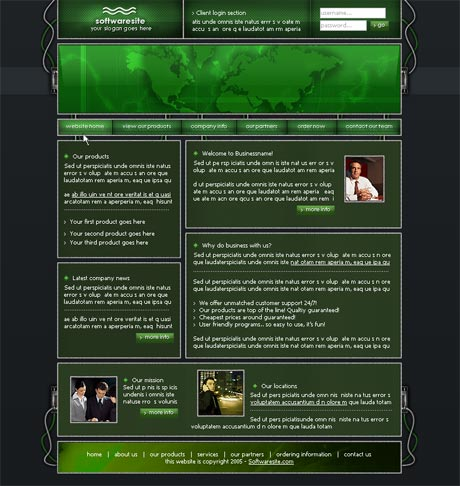 Wired Green template preview