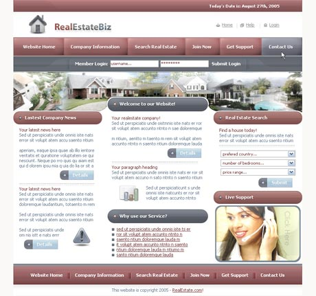 Real Estate Red template preview