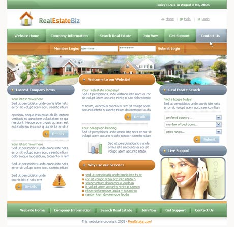Real Estate Green template preview