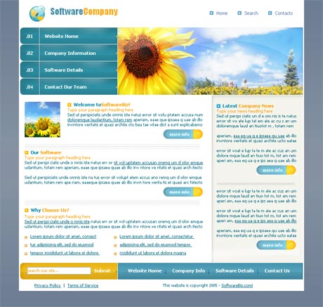 Sunflower Blue template preview