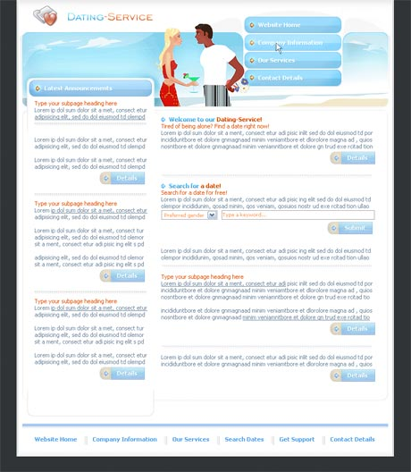 Dating Service Blue template preview 2