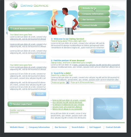 Dating Service Green template preview