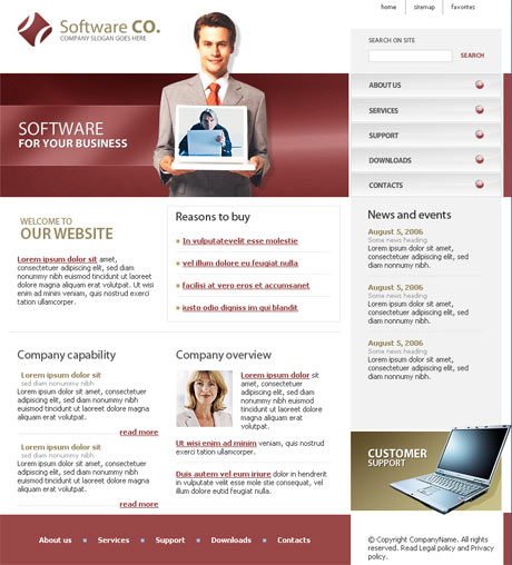 Flash Software Red template preview