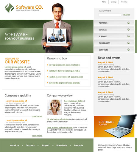 Flash Software Green template preview