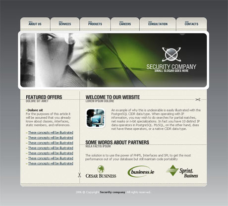 Corporate Security Grey template preview
