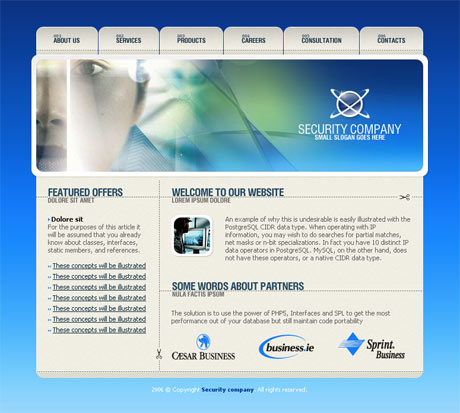 Corporate Security Blue template preview