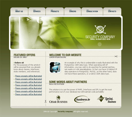 Corporate Security Green template preview